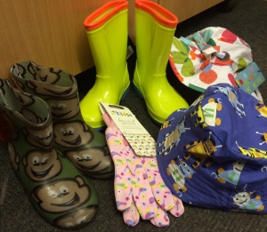 Kids Gardening hats, gloves and wellies